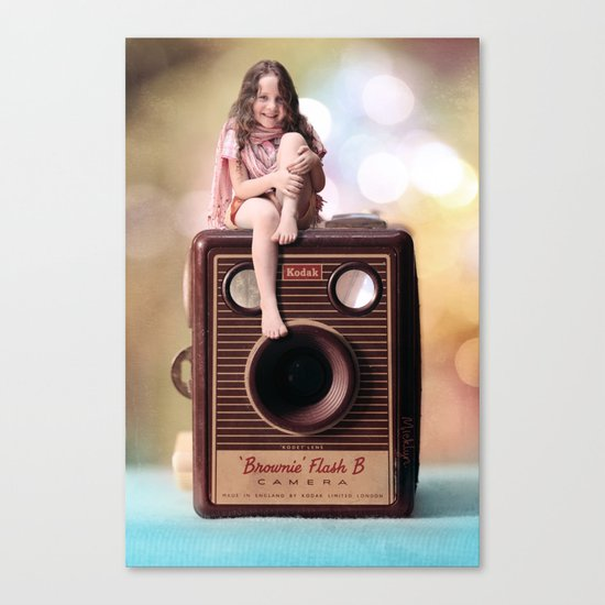 Smile for the Camera - vintage Kodak Brownie camera with miniature girl. Canvas Print