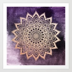 GOLD NIGHTS MANDALA IN PURPLE Art Print