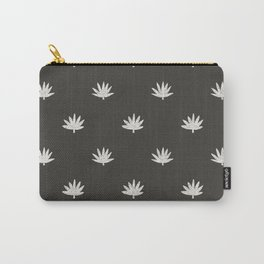 Palm Frond in Black and Ivory Carry-All Pouch
