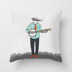 Banjo Badger Throw Pillow