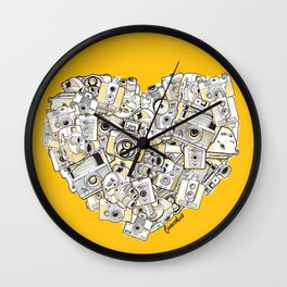Camera Heart - on yellow Wall Clock