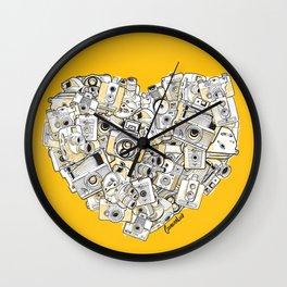 Camera Heart - on yellow Wall Clock