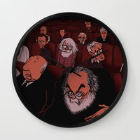 movies Wall Clocks featuring At The Movies by Phil McAndrew