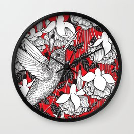Hummingbird and fuchsia, red background Wall Clock