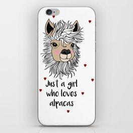 alpaca girl Llama Love Present Gift iPhone Skin