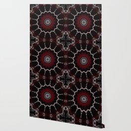 Deep Ruby Red Mandala Design Wallpaper