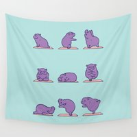 hippo Wall Tapestries featuring Baby Hippo Yoga by Huebucket