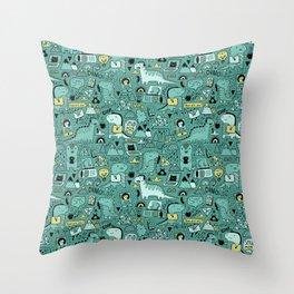 Communication Dinosaurs Throw Pillow