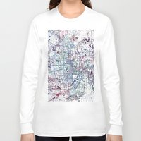 minneapolis Long Sleeve T-shirts featuring Minneapolis map by MapMapMaps.Watercolors