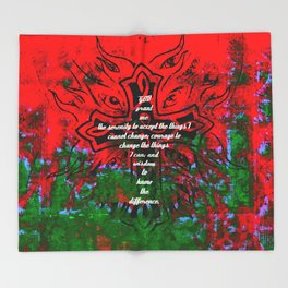 Serenity Prayer Inspirational Quote With Creative Motivational Art Throw Blanket