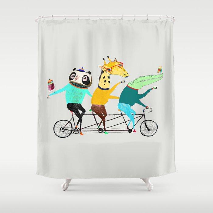 Animals Biking Bike Art Decor Bikes Shower Curtain