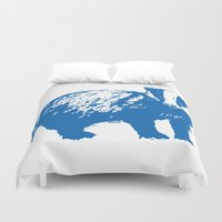 badger Duvet Covers featuring Blue Badger by Frances Roughton