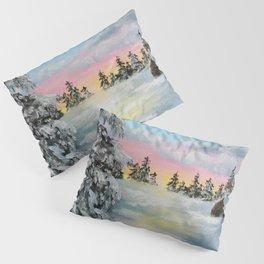 Winter Sunset Snow Scene Painting Pillow Sham