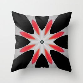 Simple Red and Black Flower Abstract Design Throw Pillow