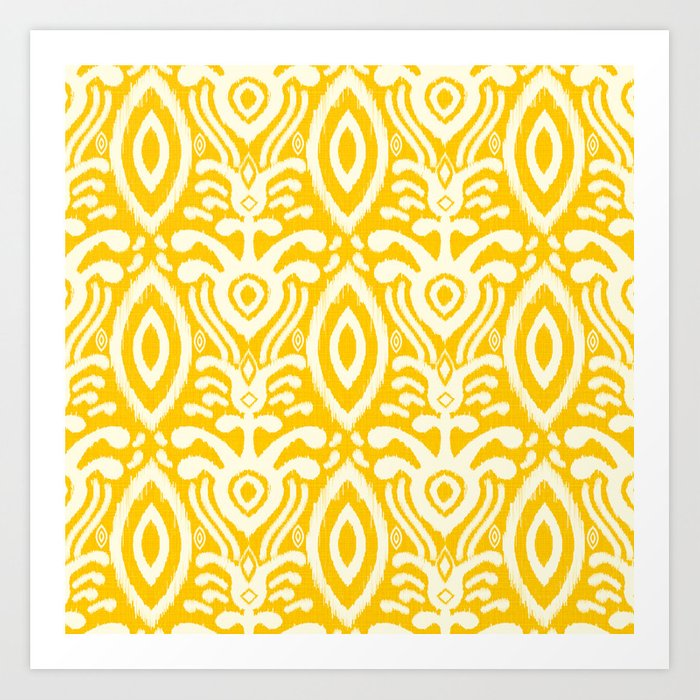 Yellow Ikat Pattern Art Print by shellybrewerpenko | Society6