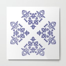 'Love 04' - Heart of lace in blue Metal Print