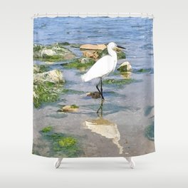 A Heron by the sea Shower Curtain