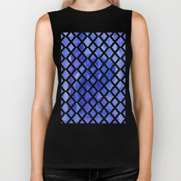 Watercolor Diamonds in Cobalt Blue Biker Tank