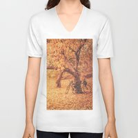 new york city V-neck T-shirts featuring Autumn - New York City by Vivienne Gucwa