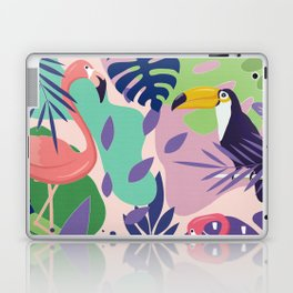 Tropical Jungle With Flamingos And Toucans Memphis Style Laptop & iPad Skin