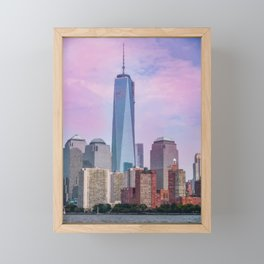 Painting of a very Dramatic Sunset over the NYC Financial District, seen from the Water Framed Mini Art Print