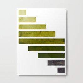 Olive Green Midcentury Modern Minimalist Staggered Stripes Rectangle Geometric Aztec Pattern Waterco Metal Print