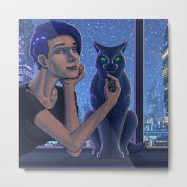 Do androids pet robotic cat? Metal Print