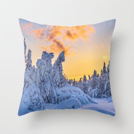 Winter Evening in the Forest Throw Pillow