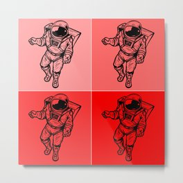 Astronaut (Bright Red) Metal Print