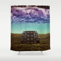sonic Shower Curtains featuring Sonic Field by Nope