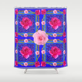 BLUE  GEOMETRIC ART CERISE & PINK FUCHSIA ROSES Shower Curtain