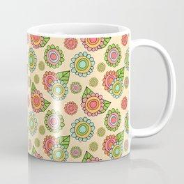 Colorful doodle flowers - Spring Pattern Coffee Mug