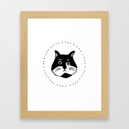 Black and white Cat, kids room and nursery deco Framed Art Print
