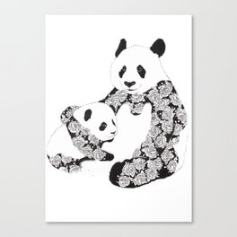 Panda Mother and Cub Canvas Print