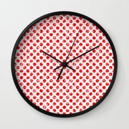 Polka Dot Red and Pink Blotchy Pattern Wall Clock