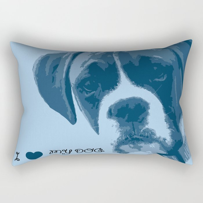 I love my dog - Boxer, blue Rectangular Pillow