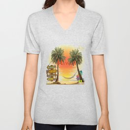 Hawaiian Tropical Sunset Unisex V-Neck