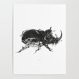 Beetle 1. Black on white background Poster