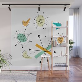 Vintage Mid Century Modern Pattern Shapes Wall Mural