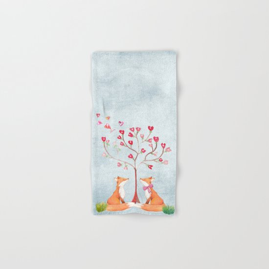 Fox love- foxes animal nature _ Watercolor illustration on #Society6 Hand & Bath Towel