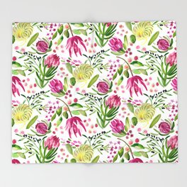 Protea Flower Bloom Throw Blanket