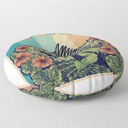 Iguana In The Flowers Garden Floor Pillow