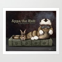 appa Art Prints featuring Appa the Hutt and Salacious Momo by Cliff Roth