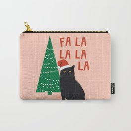 Black Cat cute fa la la christmas xmas tree holiday funny cat art cat lady gift unique pet gifts Carry-All Pouch