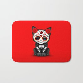 Cute Red Day of the Dead Kitten Cat Bath Mat