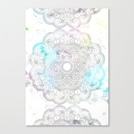 abstract gray and turquoise mandala design in minimal style Canvas Print