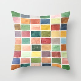 Hand painted blocks Throw Pillow