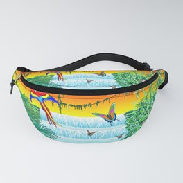 Waterfall Macaws and Butterflies on Exotic Landscape in the Jungle Naif Style Fanny Pack