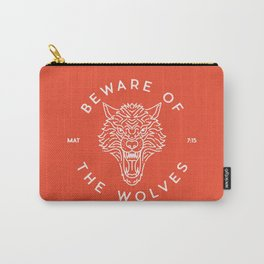 Beware of the Wolves (white) Carry-All Pouch