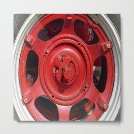 Big Red Wheel Metal Print